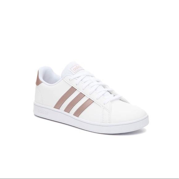 Adidas Three Stripe Rose Gold Sneakers